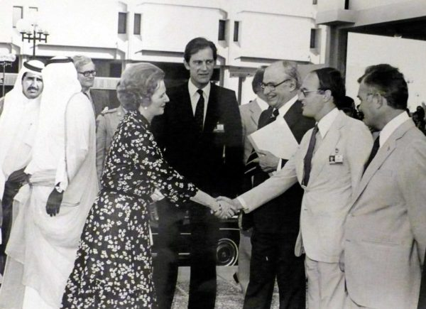 Margaret Thatcher visits the Dubai World Trade Centre, 1981. Courtesy John R. Harris Library