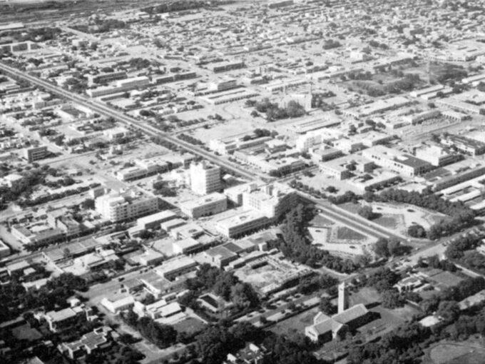 Aerial view, Khartoum, mid-1960s. Source: The Factors Affecting Settlement Distribution in the Sudan, El-Sayed El-Bushra, 1967.