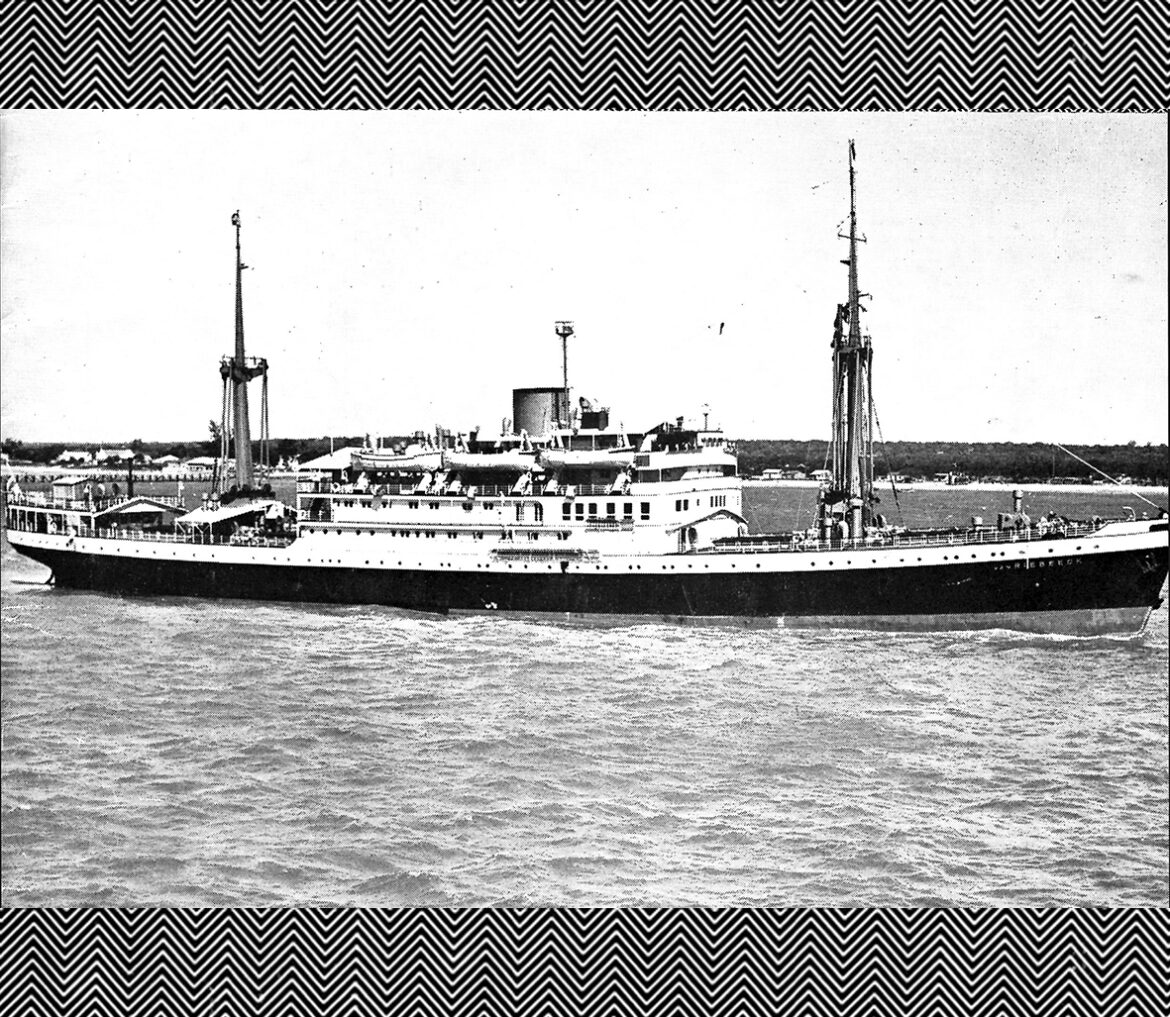 "The Van Riebeeck made quarterly tours from South Africa to ports in the Arabian Peninsula. In October 1960, it arrived on Dubai Creek as a ""floating trade fair,"" full of South African products. Source: The South African Exporter, August, 1960. Courtesy Ronald de Mes."