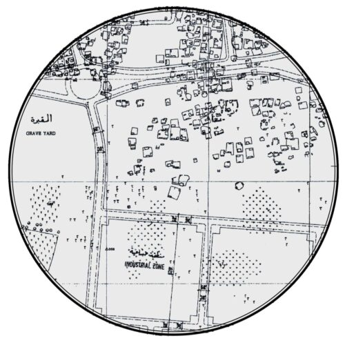 "The 1960 town plan's ""industrial zone,"" which would be perfectly sited to serve as the staging and housing area during Port Rashid's construction. The area left of the zone's proposed entrance road would also be enlisted as staging area."