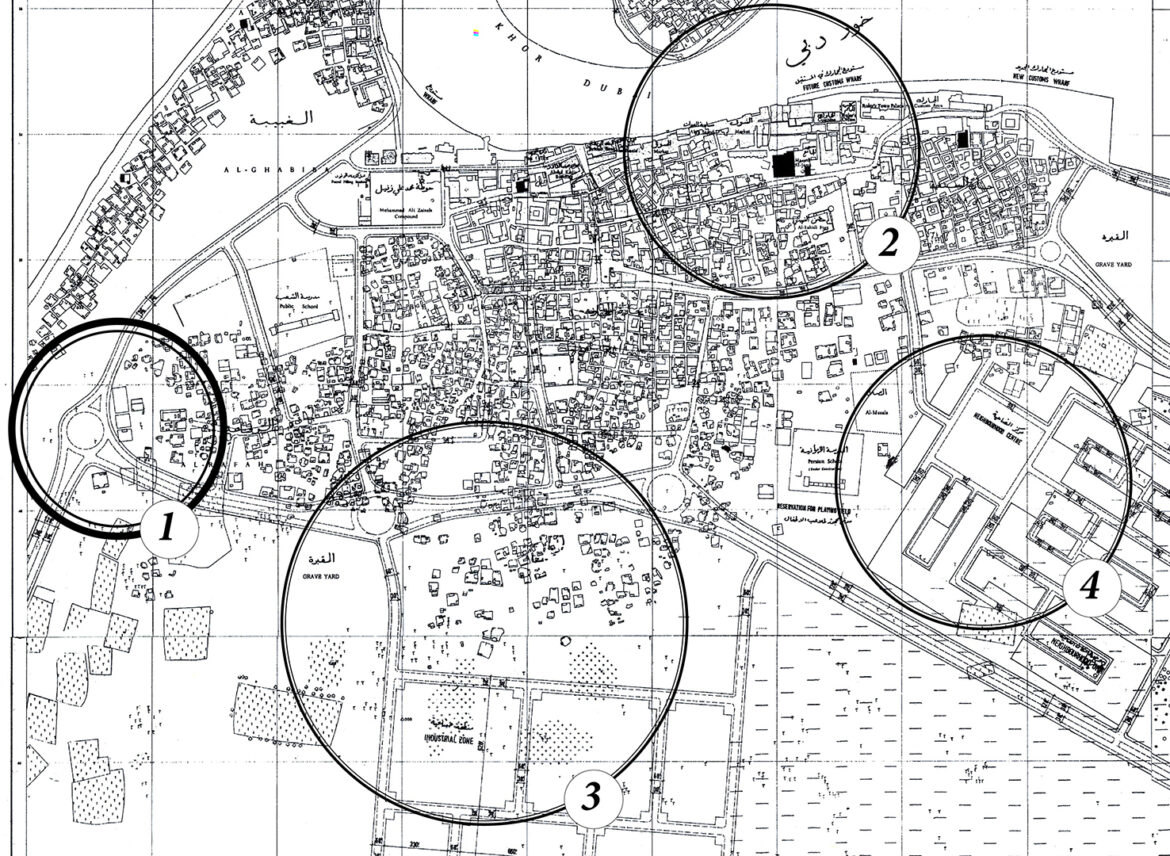 From John Harris's 1960 town plan for Dubai. Circles around: 1—The roundabout under discussion; 2—Wharfage along Dubai Creek being transformed with hardened edges in the early 1960s by British engineering firm Halcrow; 3—The plan's proposed industrial zone which would later function as the extended staging area for Port Rashid; 4—One of the new districts Harris proposed in the plan, following the British town planning concept of the neighborhood unit. Courtesy John R. Harris Library.
