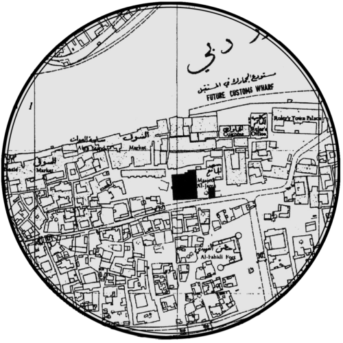 Halcrow's earliest work in Dubai focused at the existing inland harbor on Dubai Creek. The dashed lines identified future areas of reclaimed land Halcrow planned to add to Dubai's shoreline. Harris's lines were realized nearly exactly, even before these lines were approved by Dubai Municipality.