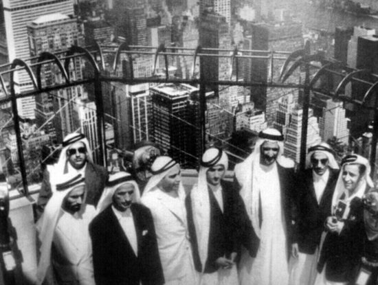 Dubai's ruler Sheikh Rashid bin Saeed Al Maktoum (third from right) with sons and advisers at the viewing platform of the Empire State Building, 1963. The Pan-Am Building designed by Martin Gropius and others, background left. Source, Twitter feed, @HHShkMohd, April 11, 2016.