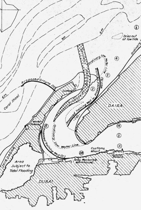 Detail from proposed improvements to Dubai Creek which would increase the force of currents to discharge excess sand back into Gulf waters. Source: National Archives (UK).