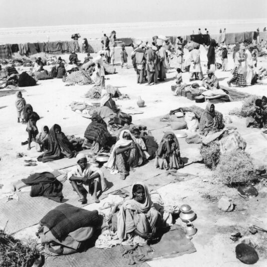 Some of the 167 recorded survivors were quarantined in a walled-in open space. The photograph was published in Sharjah Art Museum's catalogue for the 2014 retrospective exhibition of the photographer's work. Source: Lasting Impressions: Noor Ali Rashid The Royal Photographer, Sharjah Art Museum.