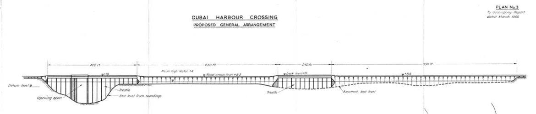 Part of proposed elevation for Al Maktoum Bridge by Sir William Halcrow & Partners, 1960.