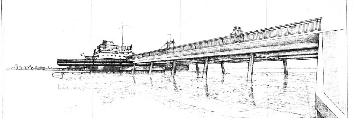 Perspective drawing of initial proposal for Al Maktoum Bridge, with a swing component to accommodate the passage of ships.